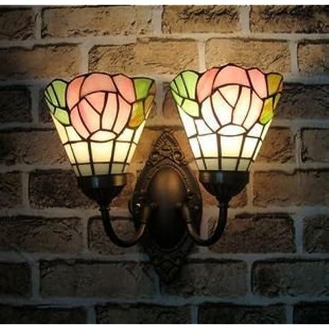MSRRY Continental di vetro di colore moderno minimalista rose garden camera da letto camera da letto letto bagno specchi anteriori lampade a parete