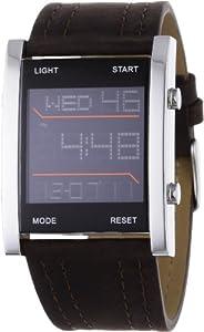 TOM TAILOR 5406003 - Reloj digital de caballero de cuarzo con correa de piel marrón (alarma, luz, cronómetro) - sumergible a 30 metros de Tom Tailor