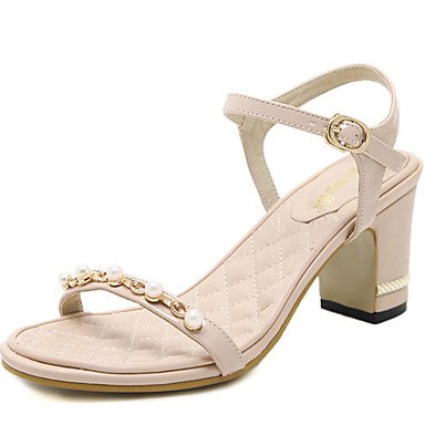 LvYuan il comfort sandali estate vestito PU tacco grosso perla imitazione Black