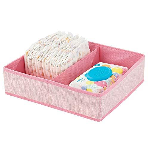 mDesign Baby Organizer mit zwei Fächern - große Aufbewahrungsbox für Windeln, Feuchttücher, Accessoires etc. - ideal als Spielzeug Aufbewahrung - pink