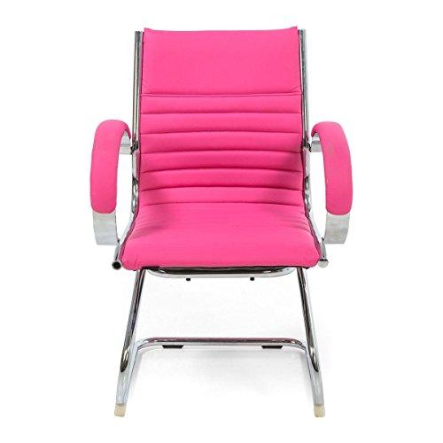 Stuhl Ernesto - Freischwinger mit Armlehne - Kunstleder - Pink