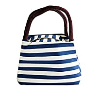 Manadlian Lunch Bag, Cute Reusable Portable Waterproof Oxford Stripe Soft Lunch Bags Carry Picnic Tote Storage Zipper Bag (29*23*15cm, Blue)