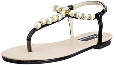 Footilicious Women's Black Fashion Sandals  - 6.5 UK/India (40 EU)
