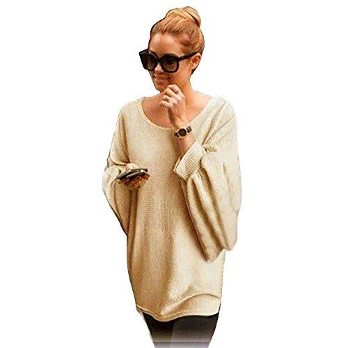 Coversolate Las mujeres de gran tamaño de punto alas de murciélago suéter flojo Pullover (Free,