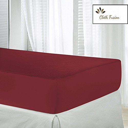 "Waterproof & Dustproof Mattress Protector King Size - 78""X72""-For King Size Mattress-Mahroon-By Cloth Fusion"