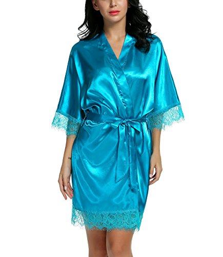 Damen Sexy Satin Japanischer Kimono kostüm Kurz Robe Chemise Dessous Set Nachtkleid Chemise Nachthemd Negligee Nachtwäsche Reizwäsche Babydoll Lingerie, A Leicht Blau, Gr. XL (Robe Kimono Damen)