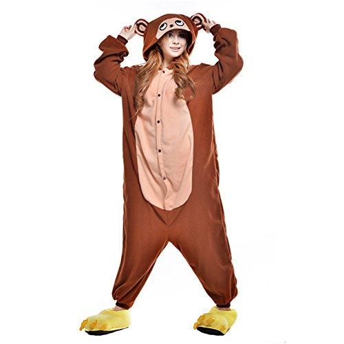 Free Fisher Damen/ Herren Schlafanzug Pyjama, Tier Kostüm, Affe Braun, Gr. XL (Körpergröße 178-188 CM) (Herren-affe)