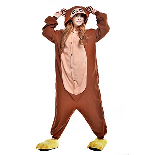 Kostüm Herren Donkey Kong - Free Fisher Damen/ Herren Schlafanzug Pyjama, Tier Kostüm, Affe Braun, Gr. XL (Körpergröße 178-188 CM)