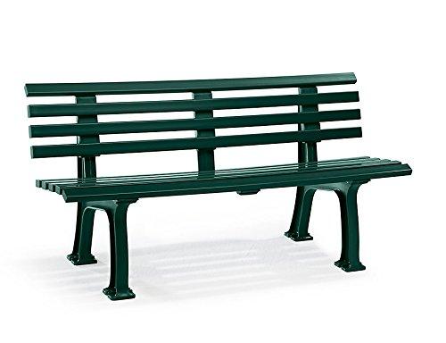 Parkbank aus Kunststoff - mit 9 Leisten - Breite 1500 mm, moosgrün - Bank Bank aus Holz, Metall, Kunststoff Bänke aus Holz, Metall, Kunststoff Gartenbank Kunststoff-Bank Kunststoff-Bänke Ruhebank