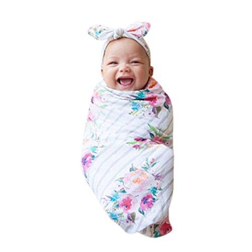 2er Set Neugeborenes Swaddle & Burp Blanket Puckdecke/Spuckdecke Wickeltuch Decke Schlafende Swaddle Muslin Wrap Babydecke Sommerdecke Kuscheldecke + Niedlich Stirnbänder (Weiß)