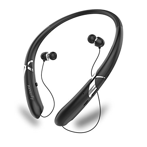 LSCHARM Bluetooth Kopfhörer Retractable Nackenbügel Sport Drahtlose Ohrhörer Stereo Wasserdicht Noise Cancelling Headsets mit Mikrofon für iPhone Samsung iPad (Schwarz)