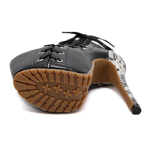 GS~LY Sort couleur serpent peau strappy bottes à talons hauts bottes pour dames Black Suede