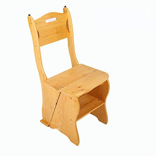 Einfacher Haushalts-faltender Doppelzweck-Fester Holz-Tritt-Schemel Innenvierstufiger Leiter-Stuhl Multifunktionsleiter-Schemel-Kiefern-bewegliche Schritt-Leiter (Farbe : Style1)