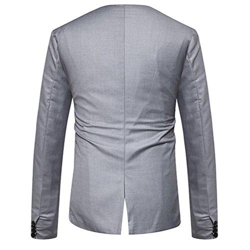 ZhiYuanAN Uomo Blazer Con Chic Pulsanti Nascosti Slim Fit Cappotto Lavoro Affari Casual Tailleur Giacca Grigio chiaro