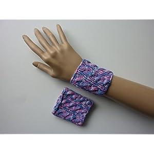 Strickarmband Pulswärmer pink rosa flieder hellblau mit Zopfmuster handgestrickt