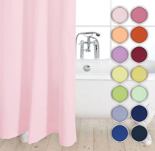 Duschvorhang Rosa (UNI Hotel Textil Duschvorhang aus Stoff inkl. Duschringe Größen und Farbauswahl (Rosa, 180x200 cm))
