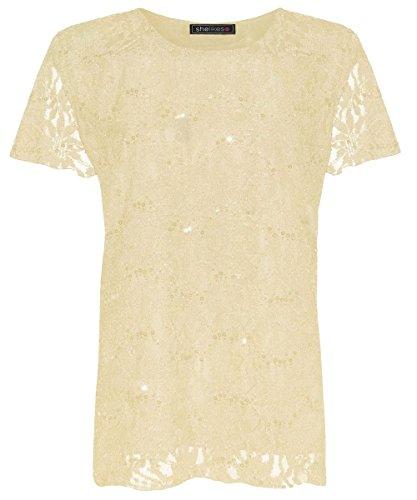 shelikes Femme Plus Taille Robe tunique doublé en dentelle sur brillant paillettes 12–26 Crème