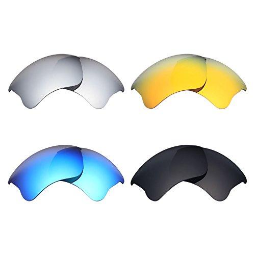 MRY 4Paar Polarisierte Ersatz-Gläser für Oakley Flak Jacket XLJ sunglasses-stealth schwarz/fire rot/ice blau/silber titan