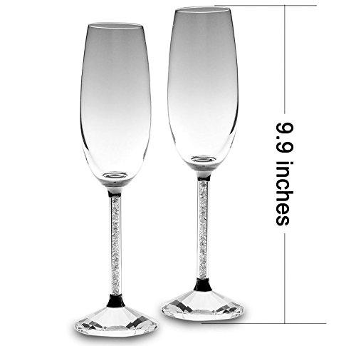 Eleganti bicchieri da champagne extra alti - set di 2 con cristalli swarovski - decorazione - matrimonio - anniversario - unico