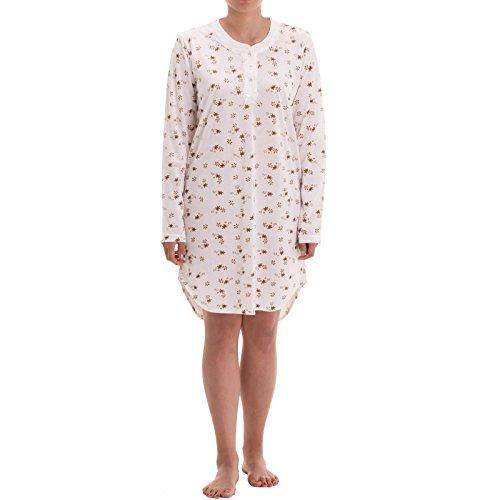 Zeitlos Nachthemd Amelie Langarm mit Verzierter Perlmuttknopfleiste und Spitzenverzierung Druck Nachtwäsche Sleepwear, Größe:2XL, Farbe:Beige