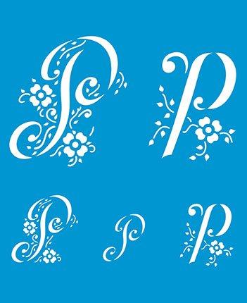 21cm x 17cm Flexibel Kunststoff Universal Schablone - Wand Airbrush Möbel Textil Decor Dekorative Muster Design Kunst Handwerk Zeichenschablone Wandschablone - Dekorative Buchstabe P Alphabet ABC