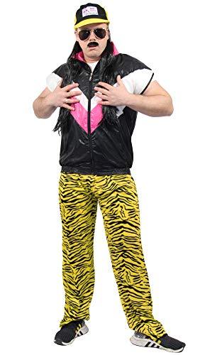 Herren Kostüm Zebra - Foxxeo 80er Jahre Herren Jogginghose im Zebra Look für Jungen Kostüm - schwarz gelb - Größe XXL/XXXL