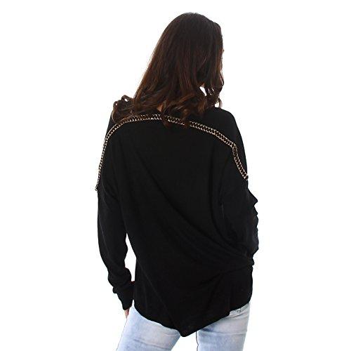 Jela London Femmes Sweatshirts maille fine Pull col V à manches longues à capuche manches longues pour Noir