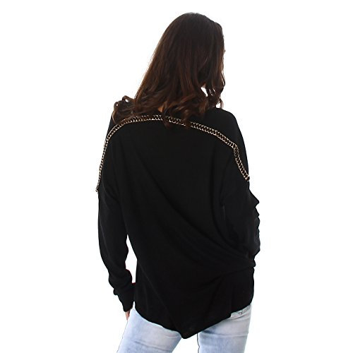Jela London Damen Pullover Pulli Feinstrick V-Ausschnitt Sweater Langarm Sweatshirt Schwarz