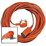 SPARES2GO 20 Metre Mains Cable & Lead Plug for Flymo Lawnmower (20m)