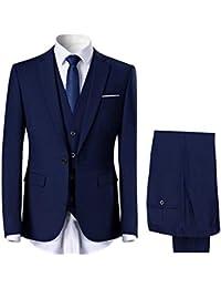 4f05589ffb717 Costume Homme Confortable Formel d affaire de Couleur uni Un Bouton à la  Mode Slim