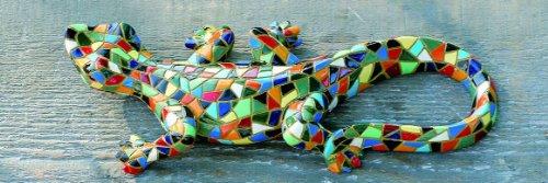 WANDDEKO SALAMANDER GECKO Bunt EIDECHSE KUNSTHARZ MOSAIK NEU ca 20 cm - Mosaik Kunstharz