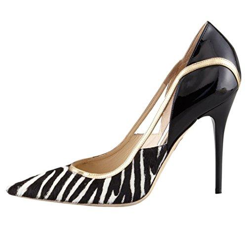 ENMAYER Womens High Heels Spitz Zehe Schuhe Slip-on Court Party Kleid Pumps Schwarz