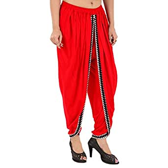 Khazana Basics Red Rayon Dhoti Pant for Women