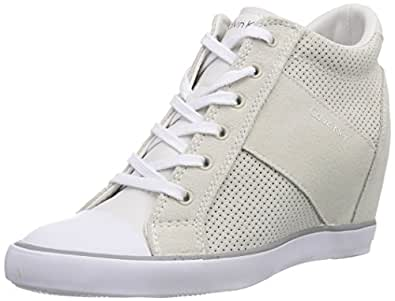 Calvin Klein Jeans  VOSS PERF SUEDE/SMOOTH, Baskets pour femme Blanc Weiß (WHITE) Taille 40