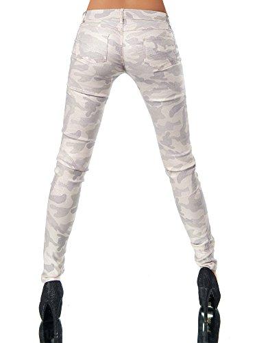 L521 Damen Jeans Hose Hüfthose Damenjeans Hüftjeans Röhrenjeans Leder-Optik Camouflage-Rosa
