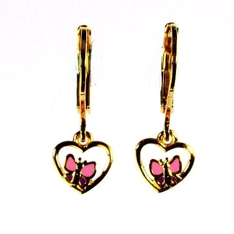 Krsnasworld® Boucles d'Oreille Enfant - 22 carats dore - Hoop Coeur avec Le papillon rose / viola