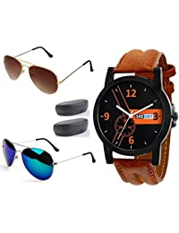 Sheomy Combo Pack of Sunglasses and Metal Analogue Quartz Black and Brown Dial Men and Women Watch