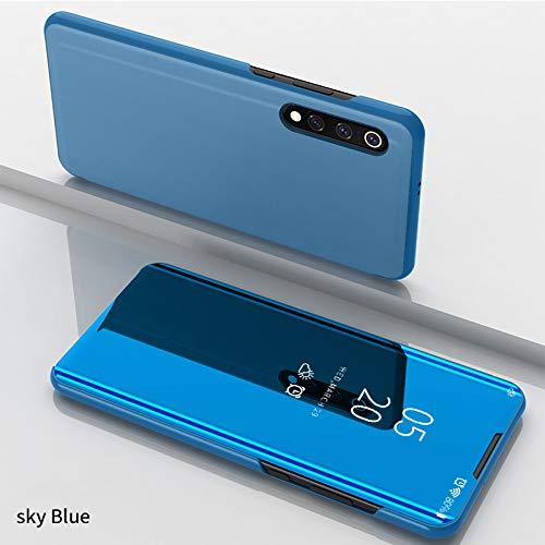 Funda Xiaomi Mi 9 SE Fundas de Espejo Elegante Carcasa de Función Inteligente para Dormir/Despertar,Vista Inteligente Cover Carcasa Funda Case para Xiaomi Mi 9 SE(Azul)