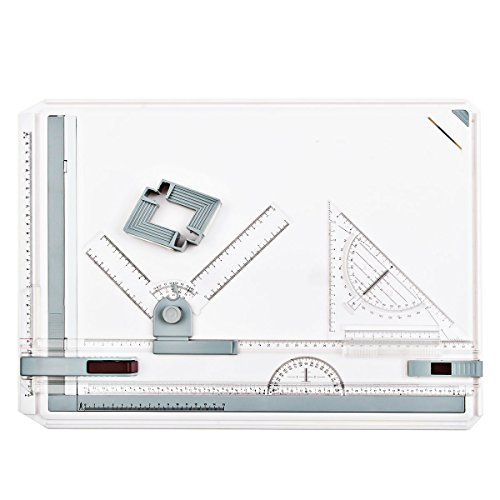 A3 Zeichenplatte Zeichentisch Zeichnen Paralleles Lineal für Technischen Zeichnungen, Mechanische Zeichnung, Innenarchitektur, Gartengestaltung, Architektonische Gestaltung, 51 x 36,5 CM