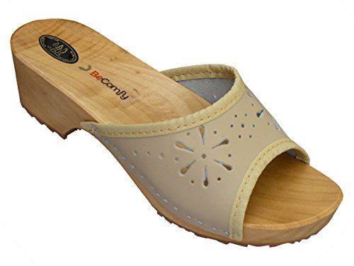 BeComfy Damen Clogs Holzschuhe Leder Holz Pantoletten mit Absatz Sandalen Bunte Farben Modell VK10 Beige