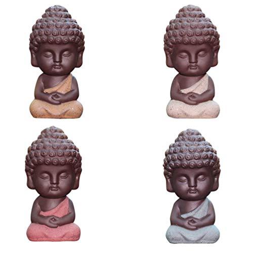 VORCOOL 4 unids Mini Estatua de Buda de Cerámica...