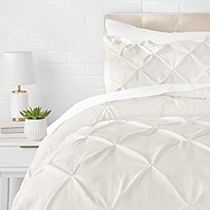 AmazonBasics Pinch Pleat Comforter Set - 135 x 200 cm, Cream