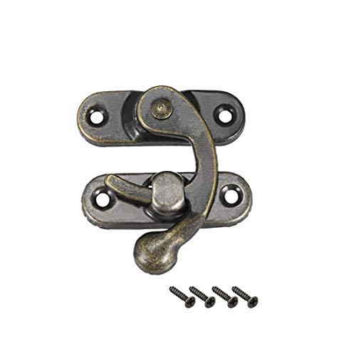 ZCHXD Antique Right Latch Hook Hasp, 26mm Swing Arm Latch Plated Bronze 50pcs w Screws -