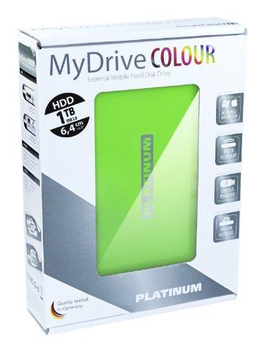 Platinum MyDrive 1 TB Externe Festplatte (6,4 cm (2,5 Zoll), 5400 U/min, 8 ms, 8 MB Cache, USB 2.0) grün