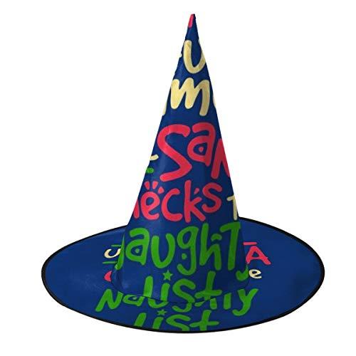 OJIPASD Aller Spaß und Spiele bis Santa Checks The Naughty List Hexenhut Halloween Unisex Kostüm für Urlaub Halloween Weihnachten Karneval (Naughty Santa Kostüm)