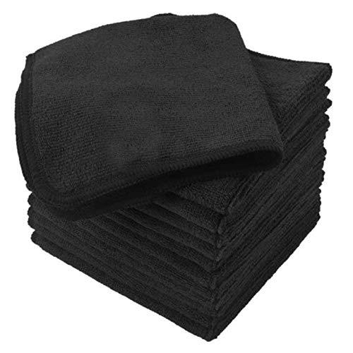 Sinland microfasertücher Reinigen mikrofasertuch Waschen Reinigung Wisch Staubwischen 30cm x 30cm (schwarz)