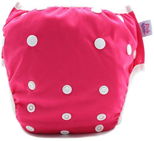 Pink&Blue Wiederverwendbare Schwimmwindeln in festen Farben für Jungen Mädchen (Badebekleidung) - Größe Neugeborene/Jungtier bis Welpen (3-15 kg)-Umweltfreundlich, schonend für das Fell (Dunkelrosa)