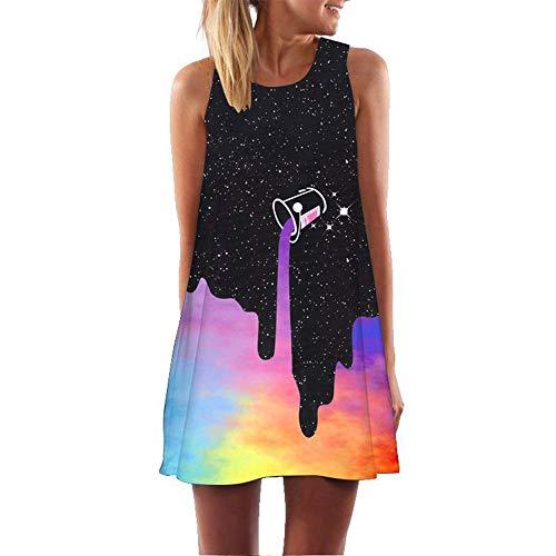 binglinshang Nouvelle Mode Femmes D'été Boho Dress 2019 sans Manches O Cou Espace Galaxy Imprimé 3D Vêtements Casual Vintage Beach Party Robes, S