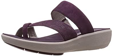 Clarks Women's Wave Bright Purple Nubuck Leather Flip-Flops and House Slippers - 3.5 UK