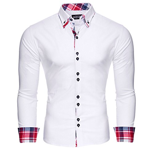 Reslad Herren Hemd Button-Down Slim Fit Kontrast Langarmhemd RS-7015 Weiß S (Button-down-hemd, Anzug)